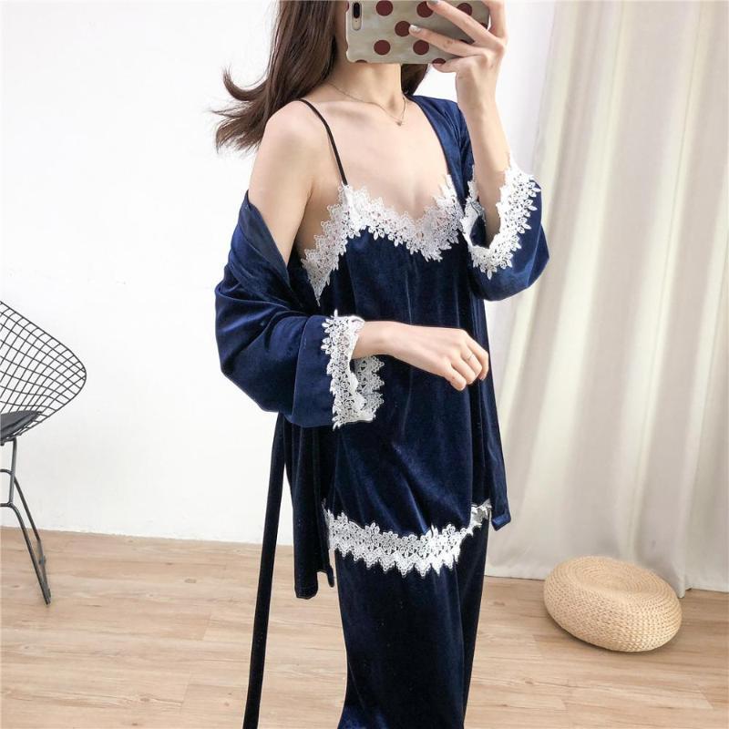 Outono Nightwear Mulheres Pijamas Set Macio Macio Quente Sexy Sleepwear 4 pcs de manga completa Strap camisola de banho roupão lingerie terno ngmgm