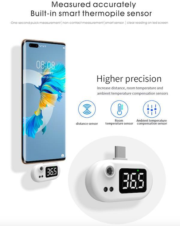 K8 K7 Mini Thermomètre sans contact sans contact sans contact Portable Utilisation sur le téléphone intelligent du connecteur USB avec la boîte de vente au détail