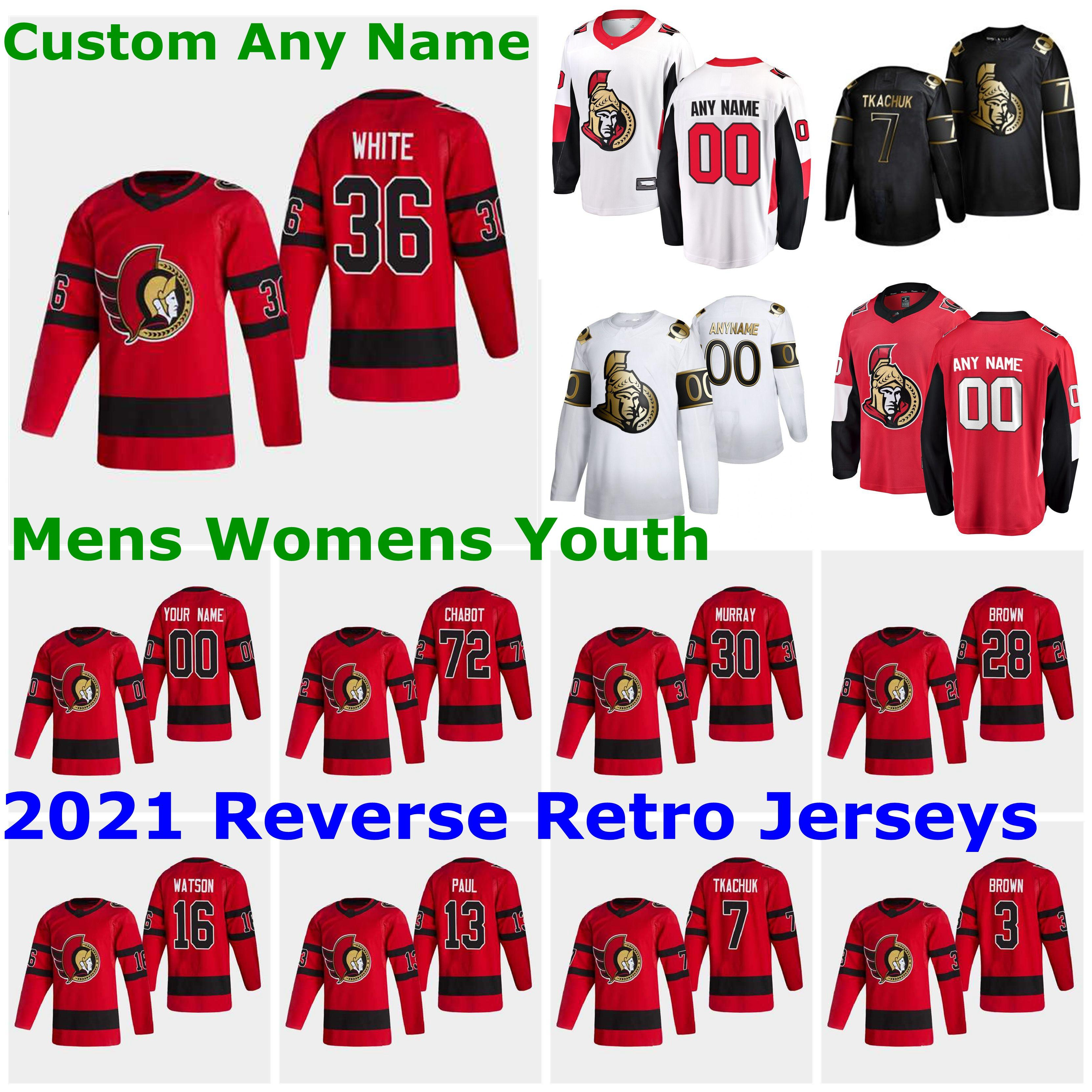 Ottawa Senators 2021 Reverse Retro Jerseys 28 Connor Brown Jersey 21 Logan Brown 10 Anthony Duclair 63 Tyler Ennis Mens Custom Stitched