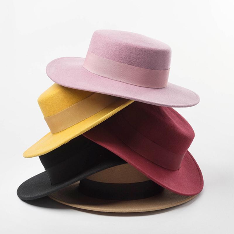 Kadınlar Geniş Brim Fedora 100% Yün Düz Üst Şapka Şerit Ilmek Accent Kilise Elbise Derby Bayanlar Şapka Sıcak Kış Şapka Kap C1123