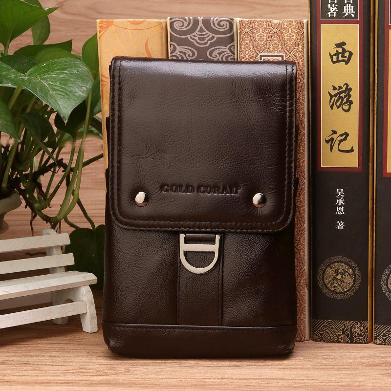 Paquete de cinturón de cuero genuino Paquete de la cintura Pequeño hombro bolsas de mensajero de diseño informal de la bolsa de teléfono Fanny Pack Travel Crossbody Bolsa