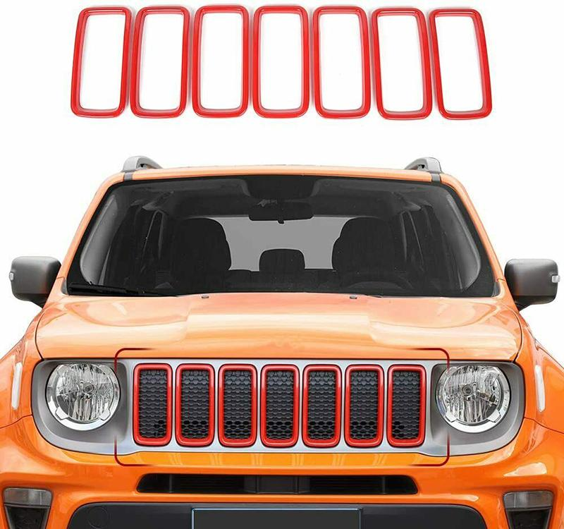 ABS Front Mesh Grille Inserts Garniture de couverture Grill pour Jeep Renegade 2019-2020 Red Auto Extérieur Accessoires