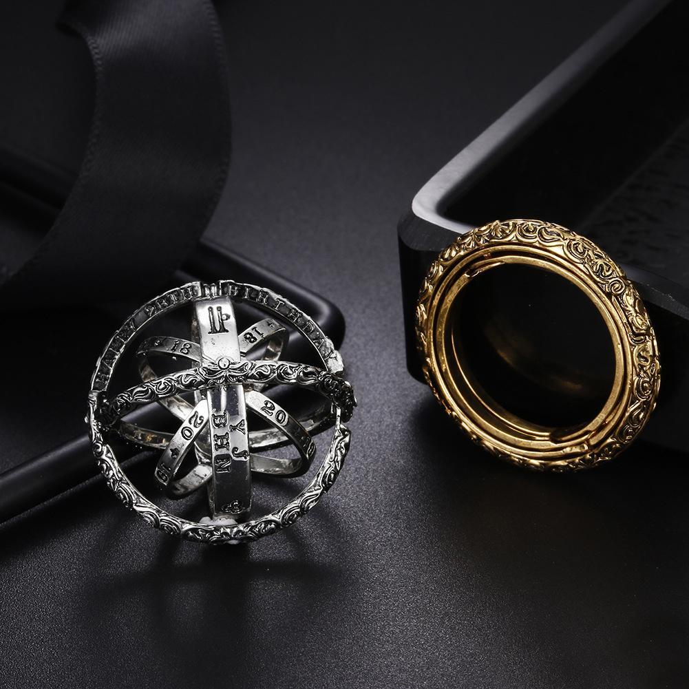 الذهب الفلكية للمرأة الكرة مزاج خواتم الإبداعية مجمع فنجر الدوارة الكونية رسالة الدائري الرجال الأزياء والمجوهرات هدايا