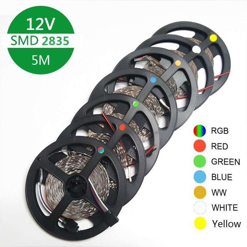 LED-Band-Bandlampe 5m 60LED / M SMD 2835 DC12V-Diode flexible LED-Streifen-Licht RGB / weiß / warmweiß / rot / grün / blau / gelb