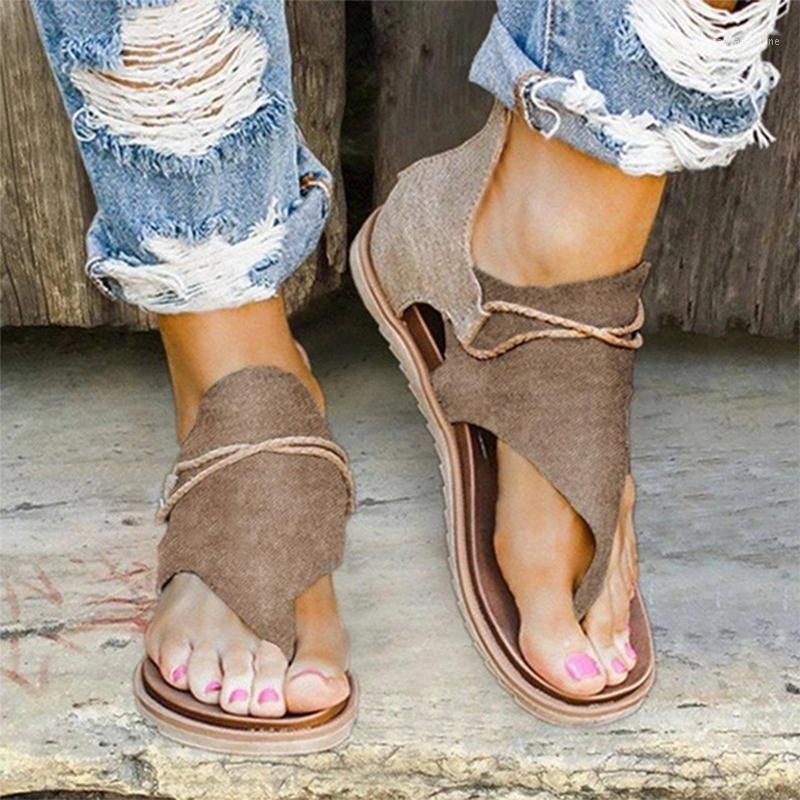 2020 Summer Femmes Sandales Sandales Femmes Femmes Open Toe Poingard Casual Chaussures Rome Plus Taille 36-43 Thong Sandales Sexy Mesdames 7591