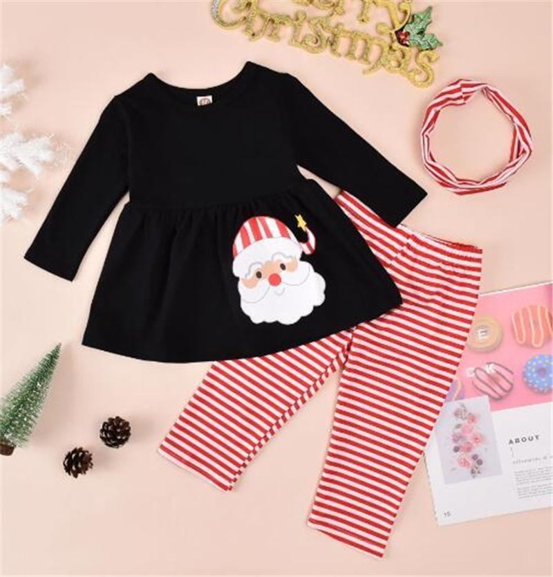 Toddler Girls 3pcs Noël costumes de Noël à manches longues Santa Tops + Stripe Pantalon long + bandeau 6m-4 ans