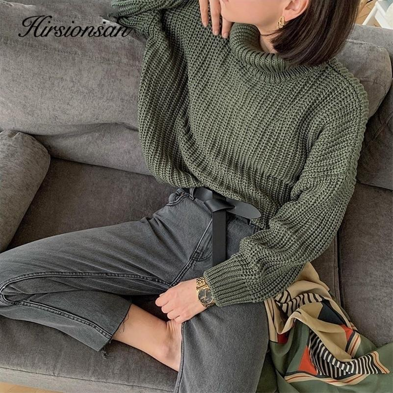 Hirsionsan Turtle Neck Sweater Women 2020 New Korean Elegant Solid Cashmere Sweater Oversized Thick Warm Female Pullovers Tops LJ200915