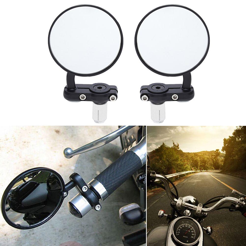 2 stücke Universal Motorrad Spiegel Aluminium schwarz 22mm Griff Bar Ende Rückseite Spiegel Motorzubehör