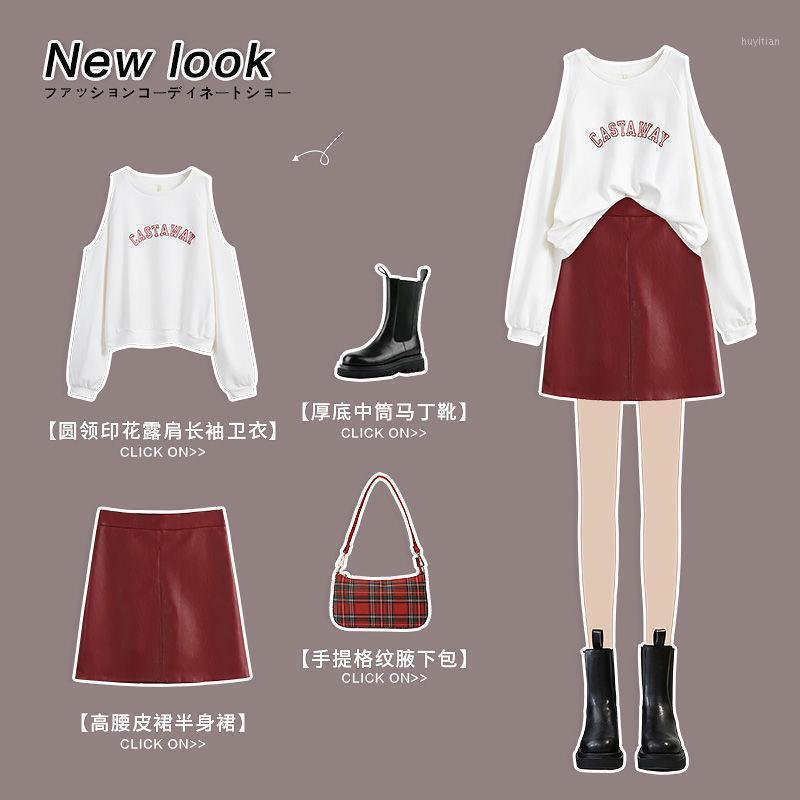 Женские трексуиты Установить женское раннее осеннее платье мода без плеча куртка и красные кожаные брюки юбка из двух частей.