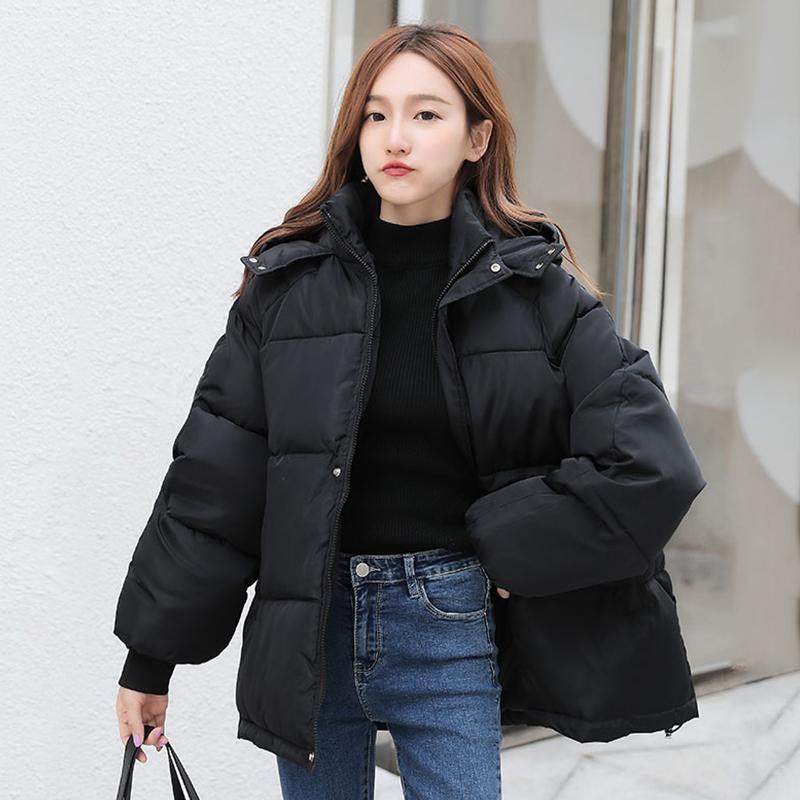 Корейский стиль зимние женщины вниз куртка негабарит свободно с капюшоном женские пухлые куртки короткие мягкие твердые женские пальто