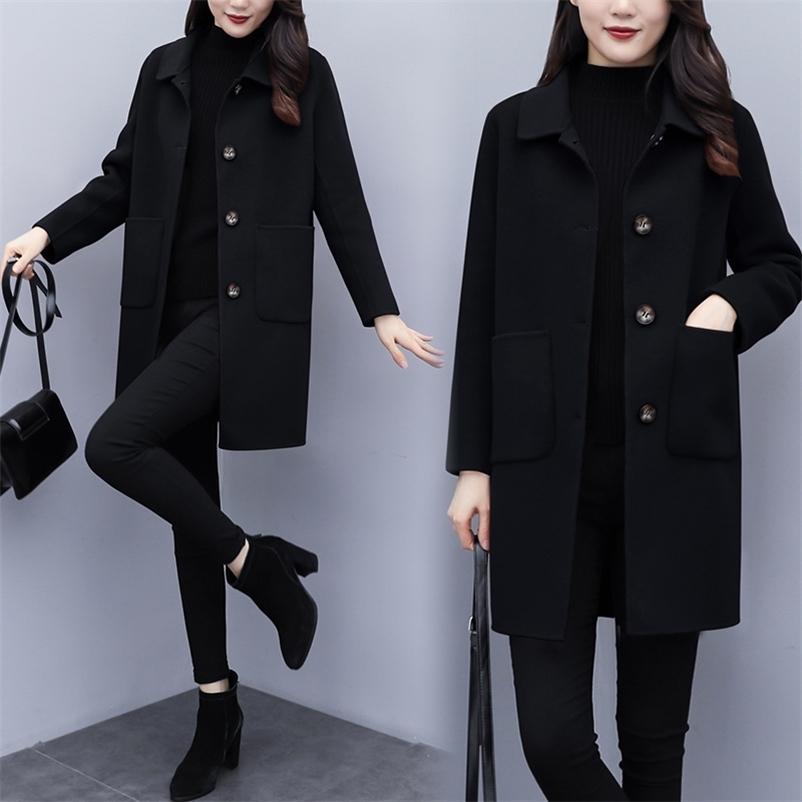 Hodisytian Winter Femmes Laine mélange la trench -le solide manteau élégant élégant OCIO Vêtements de dessus Vêtements de dessus de l'extérieur Cardigan Cardigan Overcoat 201222