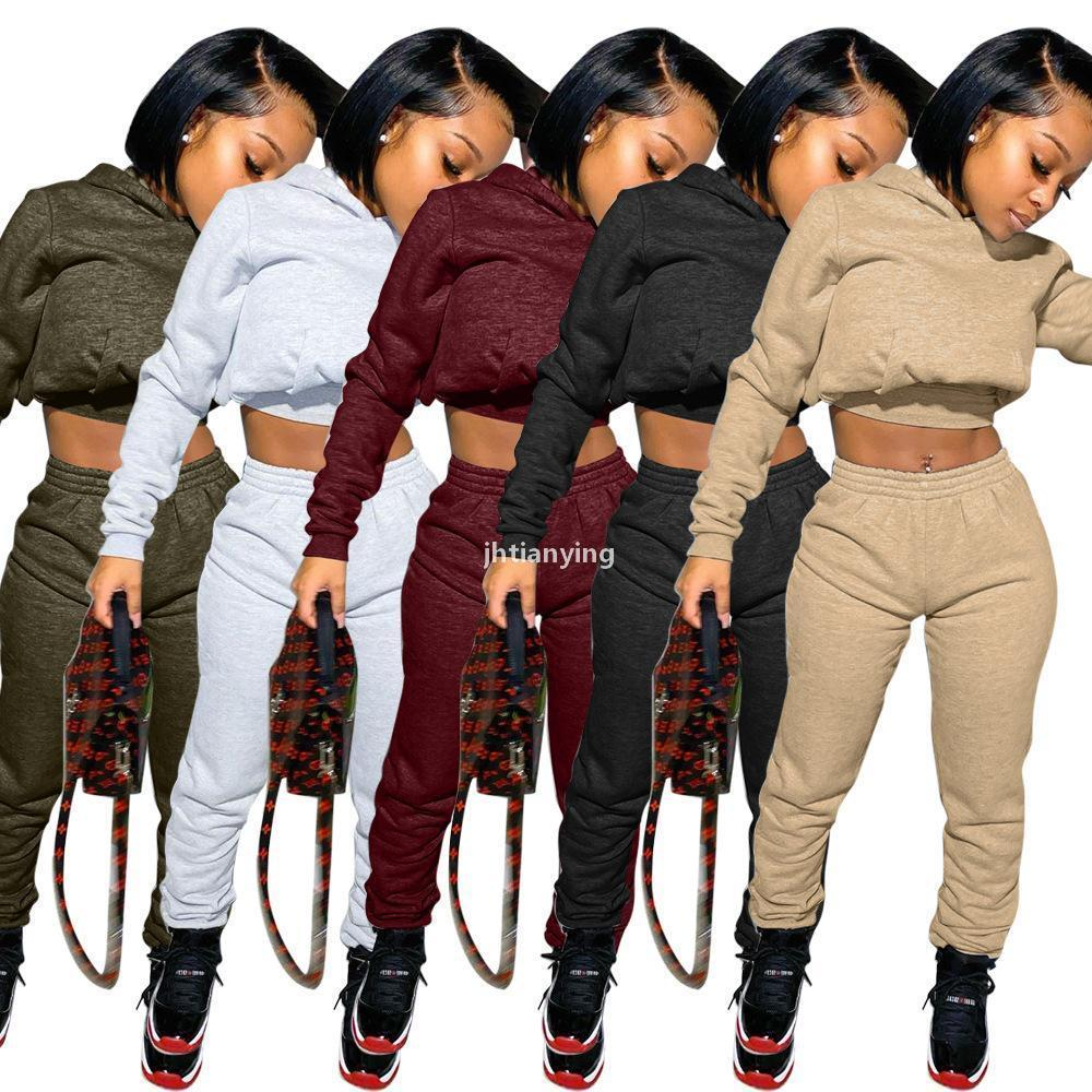 2021 New Women Fashion Clothing Sports Suit Two -Pieces Tracksuits Autumn And Winter Women &#039 ;S Solid Color Sweater Sports Set m