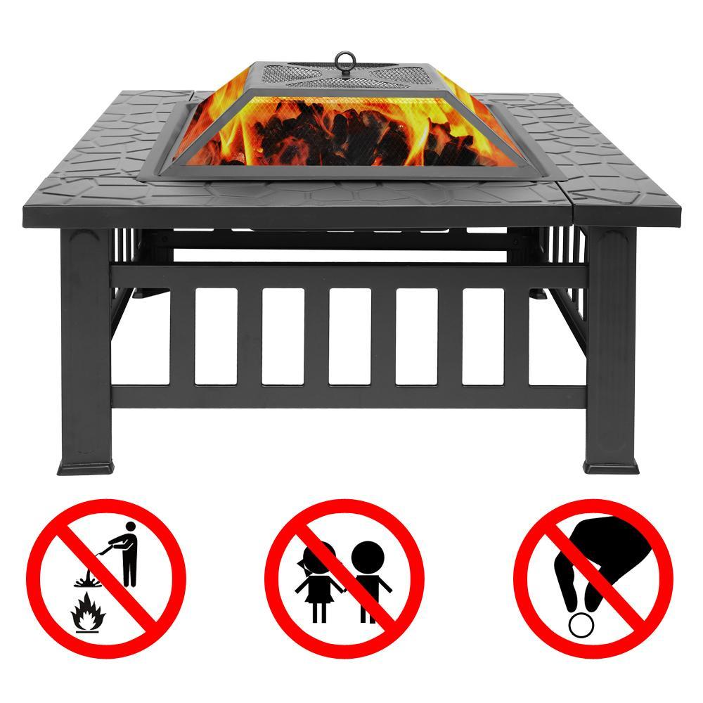 """Открытый 32 """"металлический Firepit Patio Garden Square Pove Fire Pit Pit Bravier Metal Chameplane Home Bbq"""