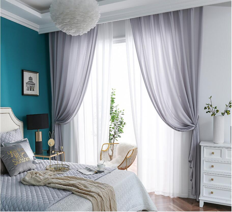 White Sheer Curtains thickened velvet window gauze curtain, transparent and impervious curtain yarn Sheer Curtains