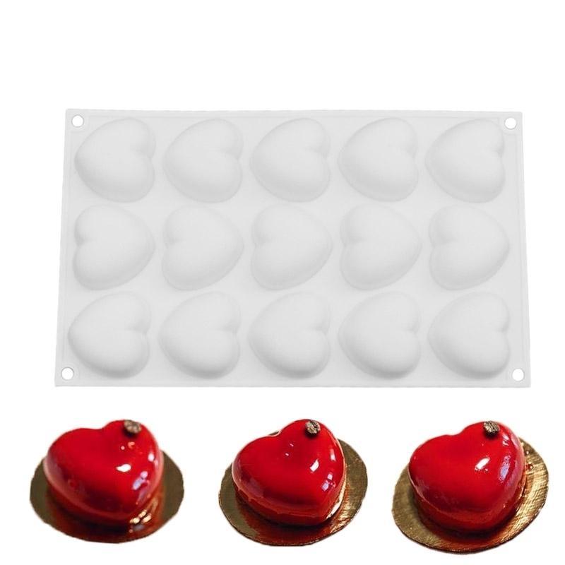 سيليكون رومانتيكس 15 على شكل قلب مصغرة قالب الكعكة للشوكولاته الحلويات مهلبية الخبز كعك تزيين أداة قوالب عموم T200524