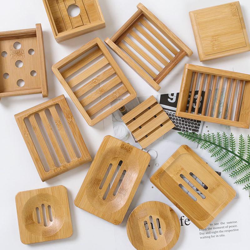 Plato de jabón de madera platos de jabón de bambú natural porta placa de rack bandeja múltiple estilo cuadrado redondo contenedor de jabón cuadrado
