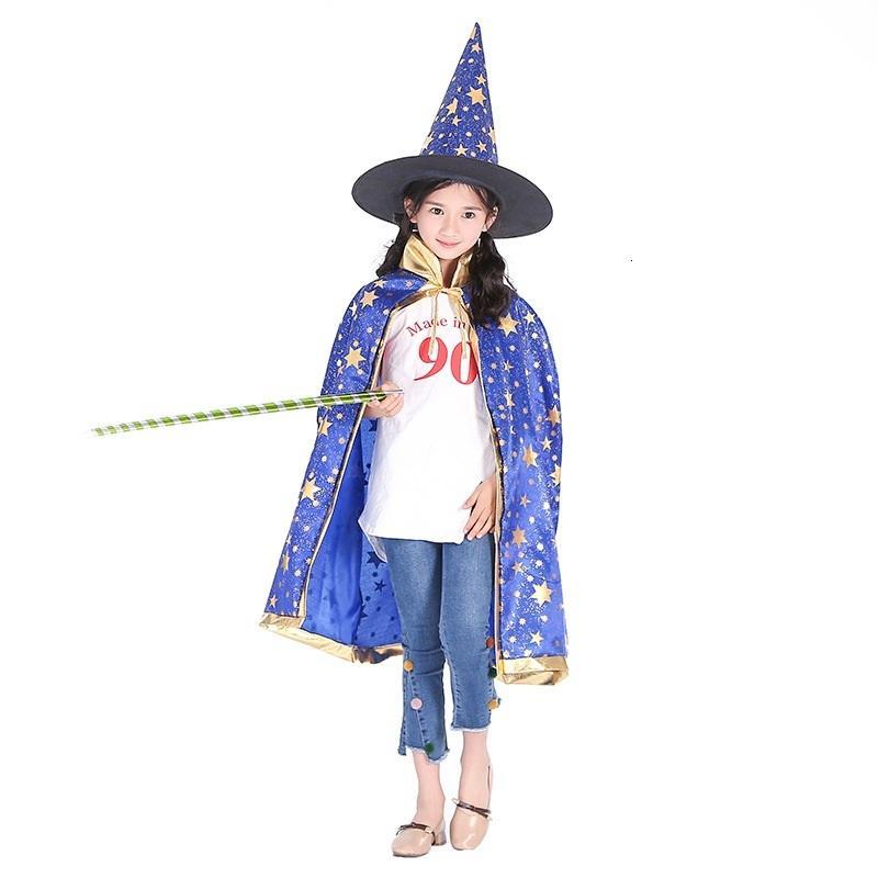 Cadılar Bayramı için Pelerin Festivali Cap Fantezi Elbise Çocuk Kostümleri Cadı Sihirbazı Kıyafeti Robe ve Şapka Kostüm Cape Çocuklar