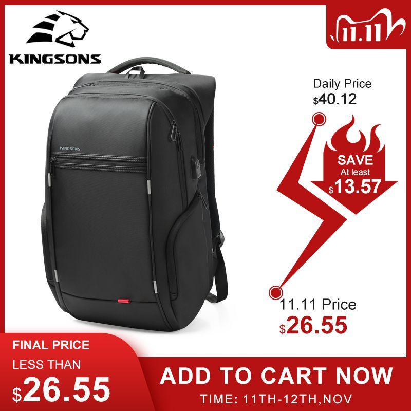"Kingsons 15 ""17"" Zaino per laptop per laptop OSB esterno Carica USB Backpacks Anti-furto Borse impermeabili Anti-furto per uomo Donne"