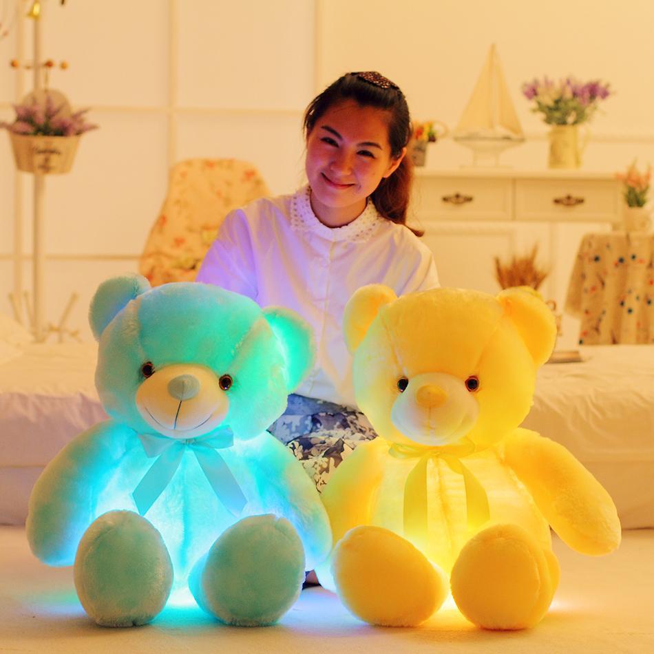 1 stück 50 cm Bunte glühende Bär Spielzeug Kreative Licht LED Teddybär Gefüllte Tiere Plüschtier Weihnachtsgeschenk Für Kinder Kissen Y1117