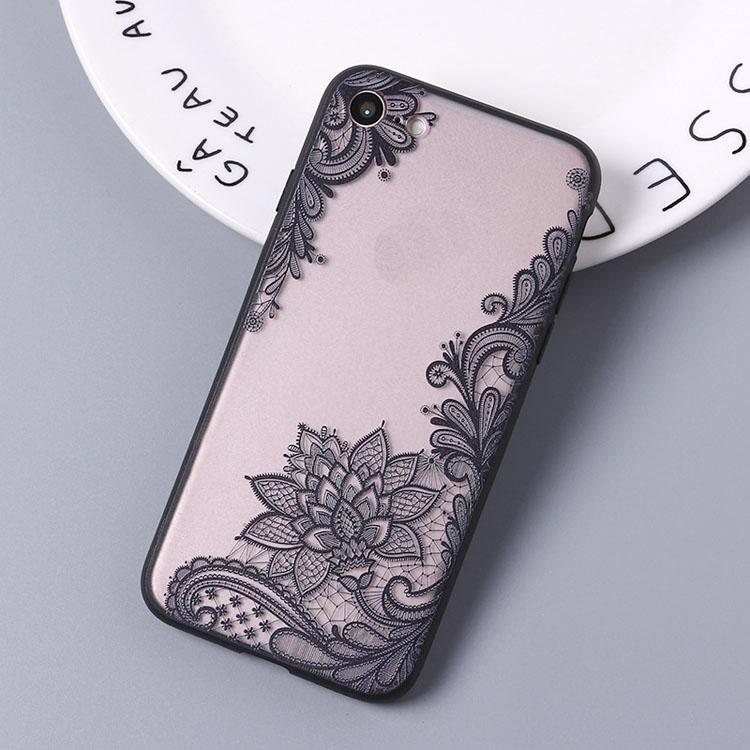 Para o caso do iPhone 7 8PLUS xr x max 11 Prodrop Proof TPU + PC Híbrido Coberta Coberta Capa de Volta de Flores Fronteira Padrão Telefone