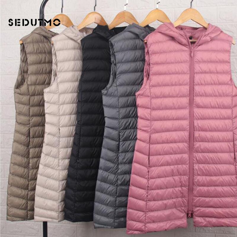 SEDUTMO Winter Plus Size 3XL Womens Down Coat Long Hooded Vest Ultra Light Waistcoat Autumn Slim Jacket Parkas ED915 201211
