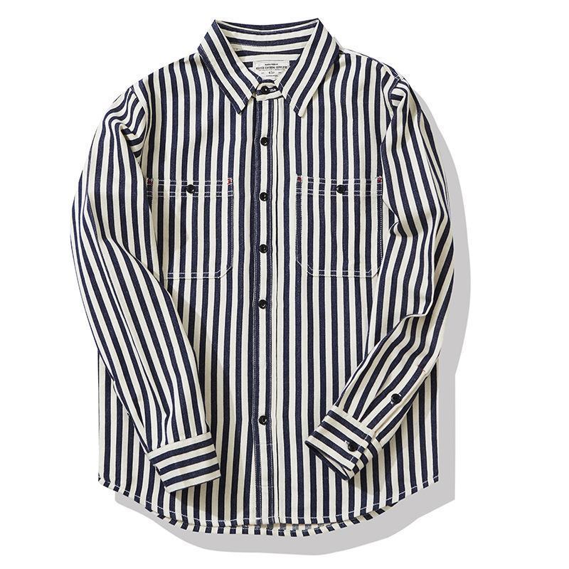 Nouvelle Chemise Vertical Stripe Chemise à l'extérieur Étudiants Étudiants Escalier Voyage Hommes Outillage à manches longues Tops Camisa Coat