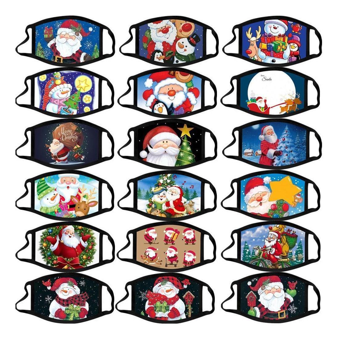 عيد الميلاد الكبار كاليكو تخفي مكافحة الضباب قابل للغسل اللون أقنعة القطن عيد الميلاد قناع الكرتون قناع الوجه الأوجه تصميم أقنعة الأزياء حزب
