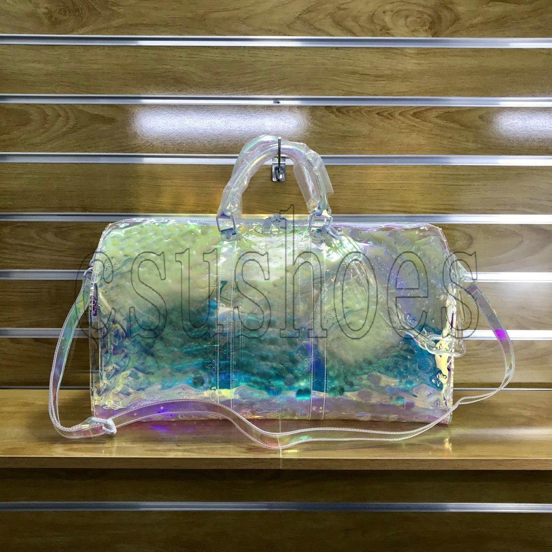 Keepall 50 Virgil Saco de viagem M53271 Transparente Duffel Bag Abloh Sacos de Ombro de Plástico PVC Holdall Viajar Duffel Bags