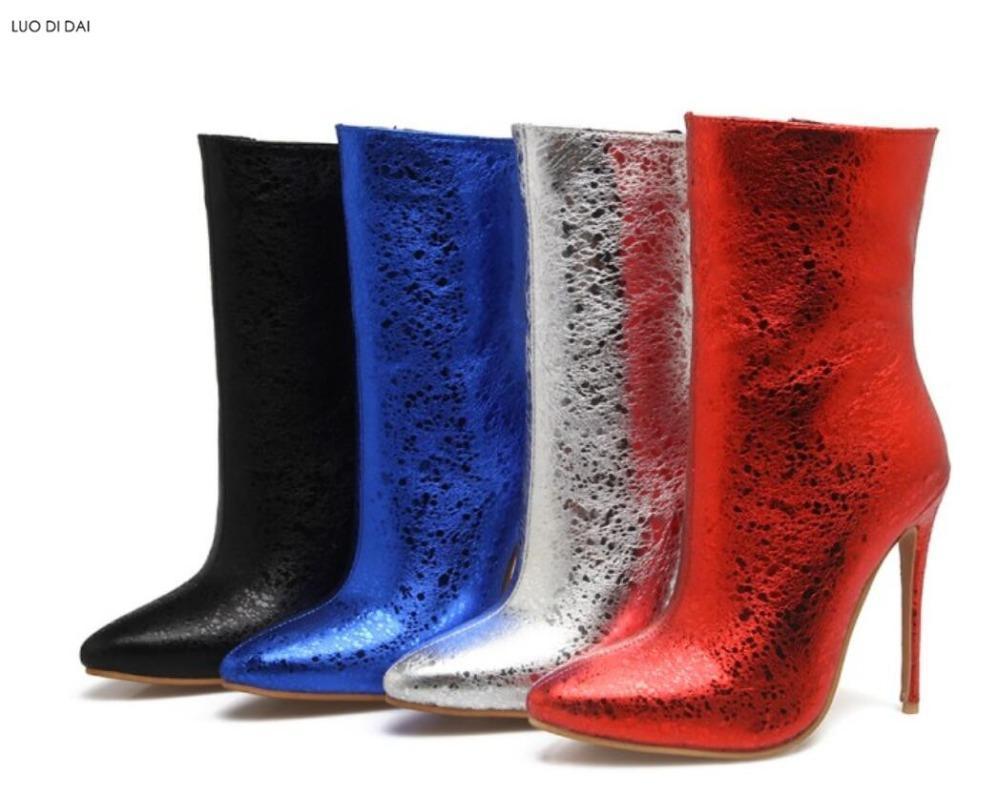 2020 Moda Moda Lantejoula Botas De Couro Fino Botas De Salto Mulheres Sapatos De Festa Bling Bling Arkle Dress Sapatos Sapatos de Salto Alto