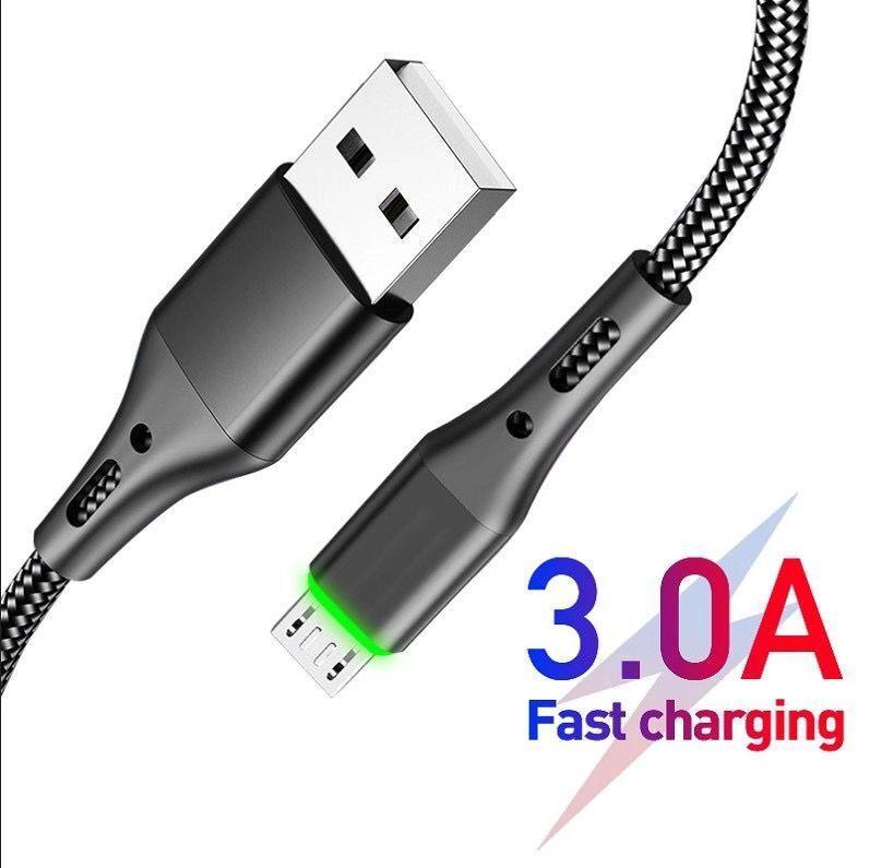 유형 -C 마이크로 USB 케이블 LED 꼰 3A 삼성 갤럭시 마이크로 충전기 안드로이드 휴대 전화 데이터 케이블 3FT 6FT에 대한 빠른 충전