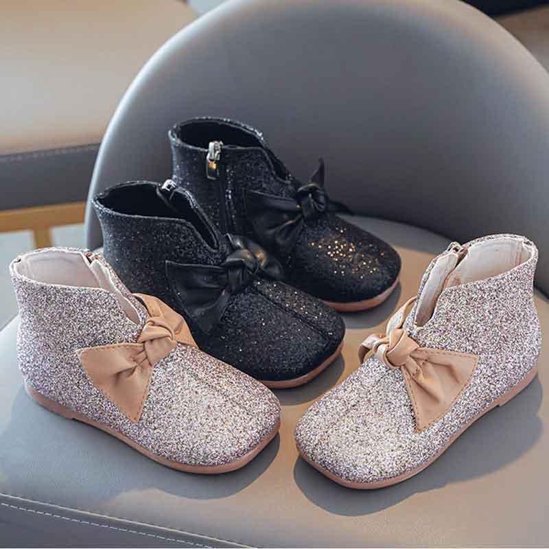 Boots Baby Girls Glitter PU кожаный круглый носок мягкая подошва весна осень короткие плоские модные одежды обувь для детей