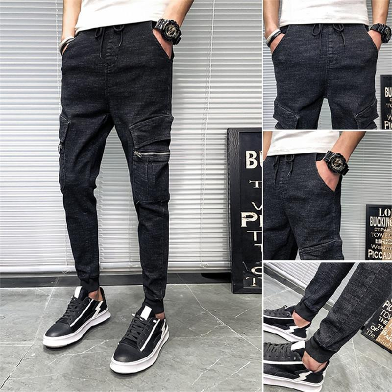 New Spring and Summer Fashion Wild Overalls Male Korean version of the Trend Cargo Pants Casual Slim Jeans