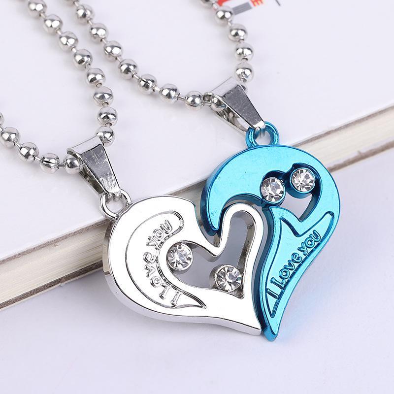 Fashion Schmuck Ich liebe dich Halskette Mischarten lieben Halskette für Paare Herz Liebe Anhänger Halskette für Geschenke Damen und Herren