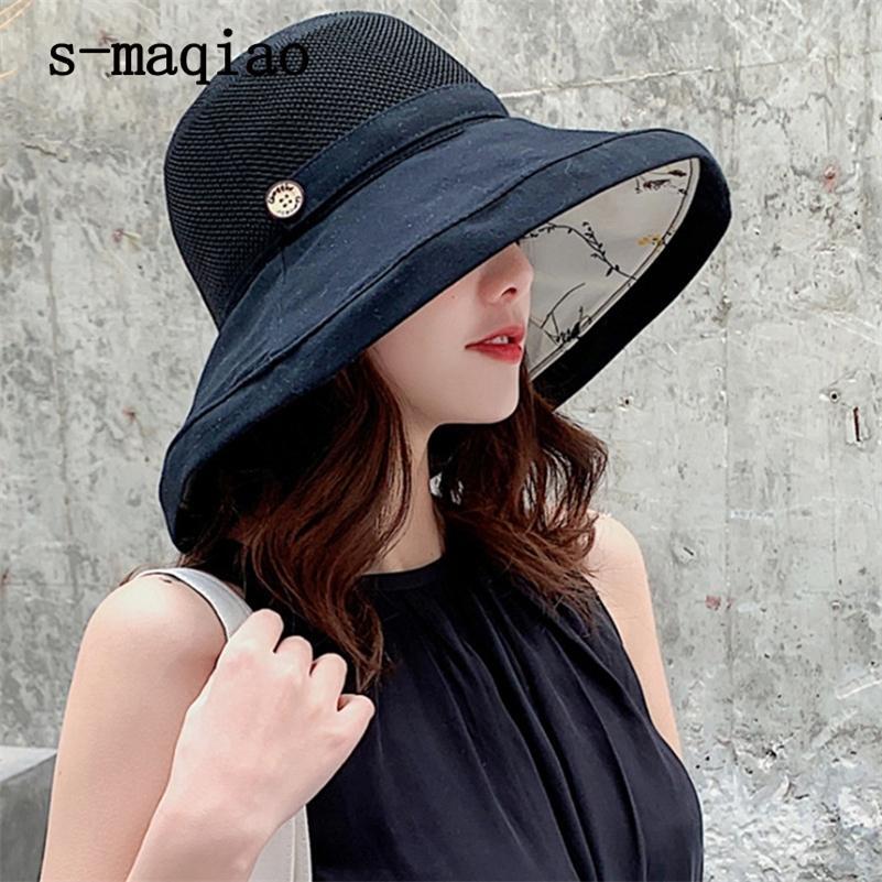 Anti-UV широкий досрочный хлопок белье солнцезащитная шляпа для женщин отпуск летнее панама Складное ведро шляпа Большой Breim Корейский пляж Sun Hat 201215