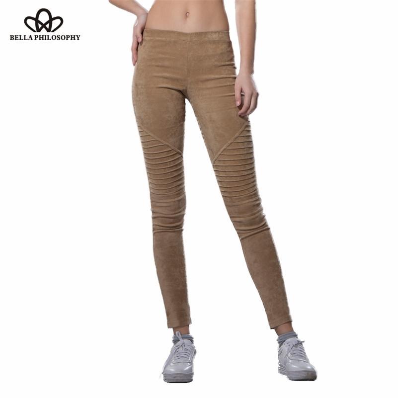 Bella Philosophie Winter Faux Wildleder Leggings Falten Hohe Taille Retro Elastische dehnbare dünne Damen Bleistift Pants Plus Size 201106