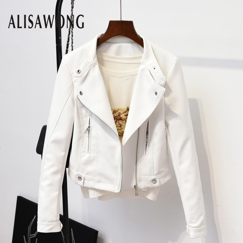 Cuero de mujer Faux primavera otoño ropa exterior mujeres delgado chaqueta blanca moda de moda calle damas punk negro abrigos cortos biker moto chaqueta 1