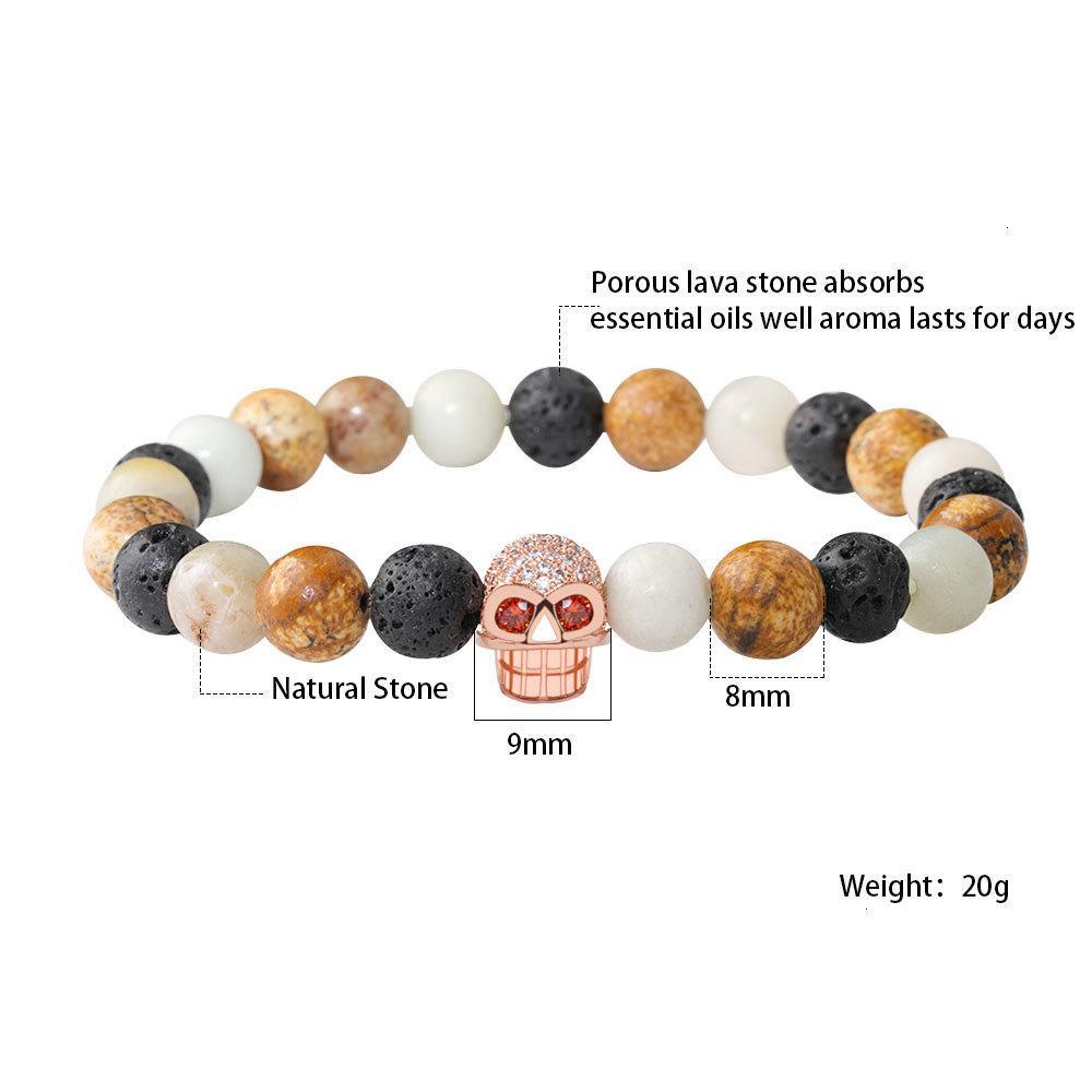 Pave Braclets Lava Black Coney Bead Trendy CZ Череп Charl Bracte для мужчин Женщины YOGA Ювелирные Изделия Подарок