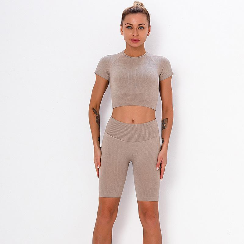Женщины бесшовные йоги набор фитнес спортивная одежда тренажерный зал с коротким рукавом одежда урожая высокая талия бегущие леггинсы тренировки шорты колготки