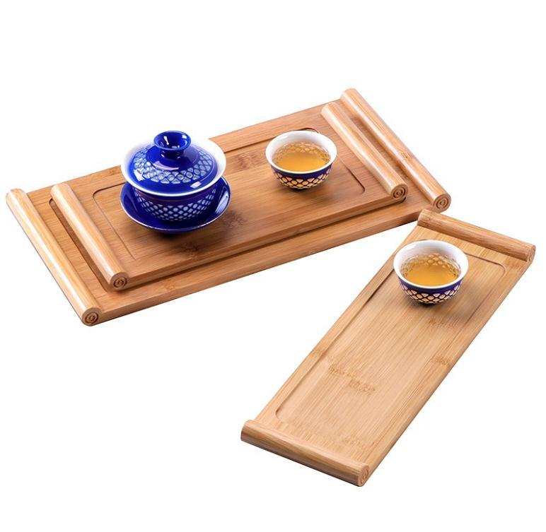 Tea Tray Snack Plate Food Table Nature Bamboo Holder Rectangle Dessert Board Easy Clean Durable Home Supplies BED3242