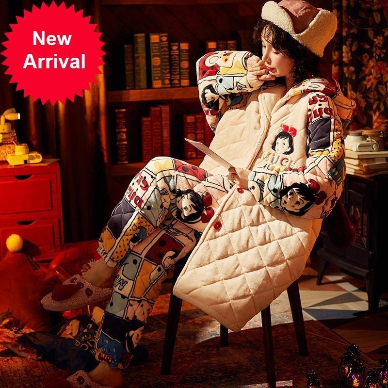Anime niña impresión pijamas flannel 3 capas espesar damas ropa de dormir conjunto conejito orejas con capucha pijamas mujeres largo mantenga cálido ropa de hogar
