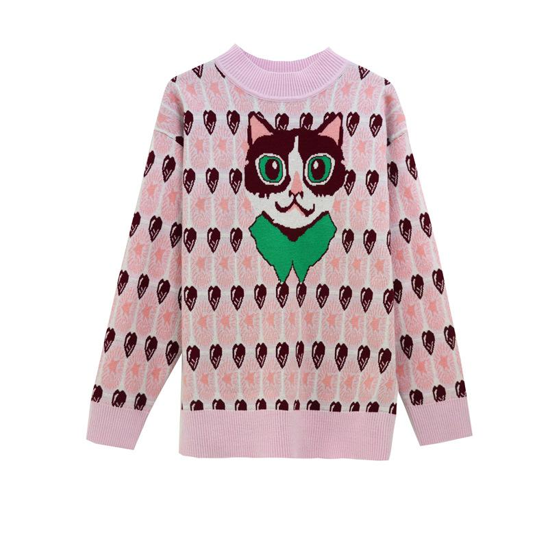 1120 Spedizione gratuita 2020 Autumn Brand Same Style Regular Long Sleeve Crew Neck Pink Kint Maglione Donne vestiti SH