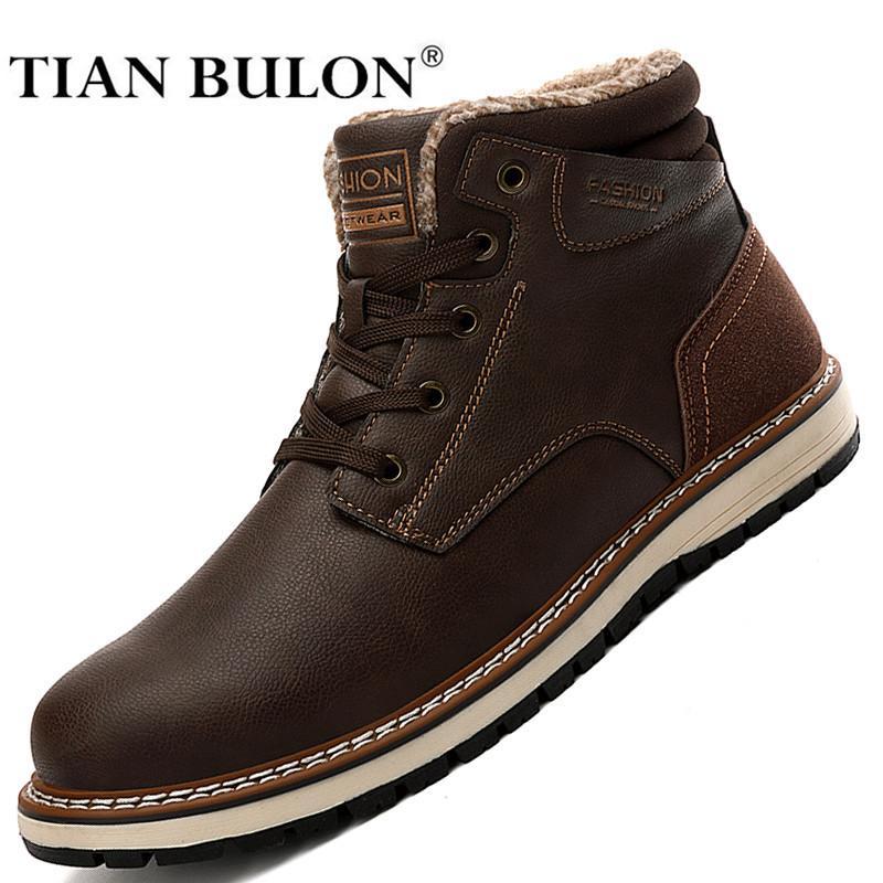 الشتاء الدافئ الفراء الكاحل أحذية الرجال جلدية عارضة الأحذية عالية أعلى أزياء رجالي الأحذية العسكرية الثلوج للماء رعاة البقر بوتاس زائد الحجم J1210