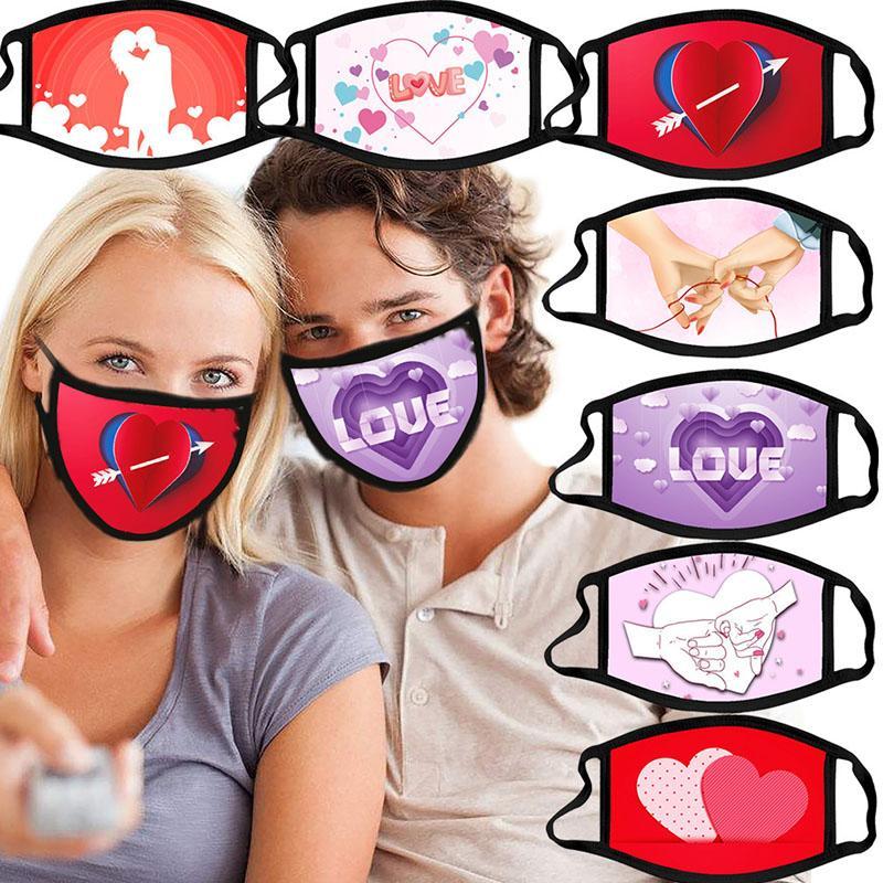 День Святого Валентина Маска Амур Любовь объятия печатания Маска Ткань Хлопок Свернутые Маски Моющаяся пыль 8 Цветов
