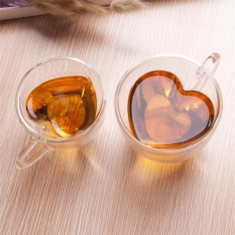 Tasse de verre de verre en forme de cœur de coeur Tasse de thé Kungfu Double Mur de Kungfu Lutron Juice Juice Coupe Boire Lover Coffes à café Tasse Cadeau