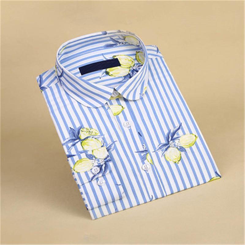 Blusas para mujer Camisas 2021 Mujeres Florales Polka Dot Camisa de manga larga Camisas de algodón Femininas Bluse Bluse Tops