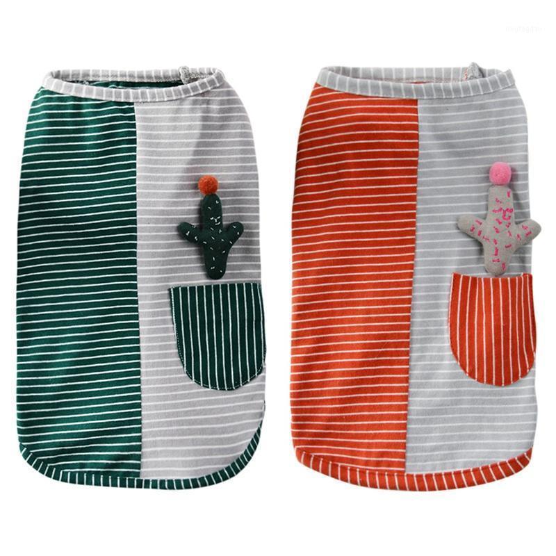 Собака одежда щенок дышащих жилетов двухцветная полоса лоскутное футболки летние домашние кошки хлопок кактус декор одежды для чихуахуа teddy1