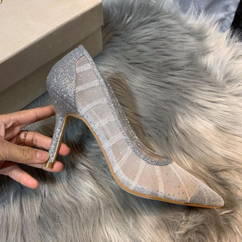 Calda vendita-scarpe da sposa femminile stagione primaverile sexy sexy maglia bianco scarpe pieghetta argento pizzo puntato scarpe puntate a spillo shallow bocca tacchi alti femmina
