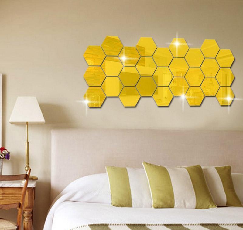 3D шестиугольник акриловые зеркала наклейки на стены DIY искусство декор стены наклейки домашнего декора гостиной зеркальный дек Jlllni Eat