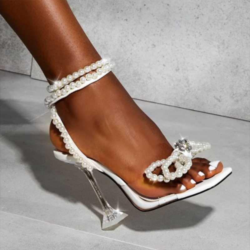 2021 Mulheres Gladiador Sandálias Sexy Branco Corda Bead 11.5cm Sandálias Altas Sandálias Verão Party Dress Shoes Fivela Bombas Plus Size