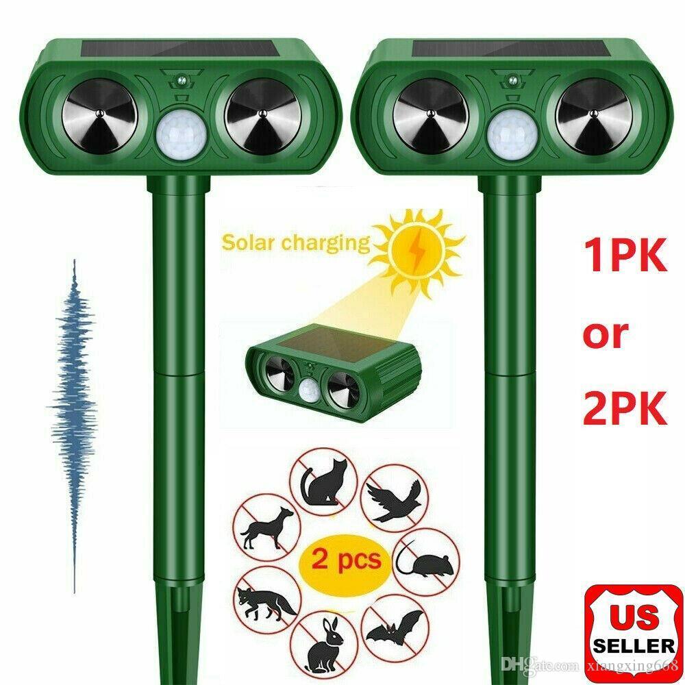 1/2 pk repelente de animales ultrasonidos energía solar al aire libre gato ratones de gato sensor de ciervo